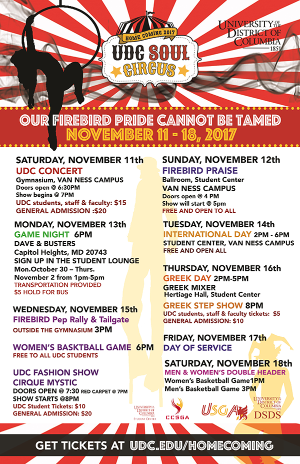 UDC 2017 Homecoming Schedule Image - Nov 11 - 18th