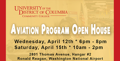 Aviation Program Open House – April 12th & April 15th