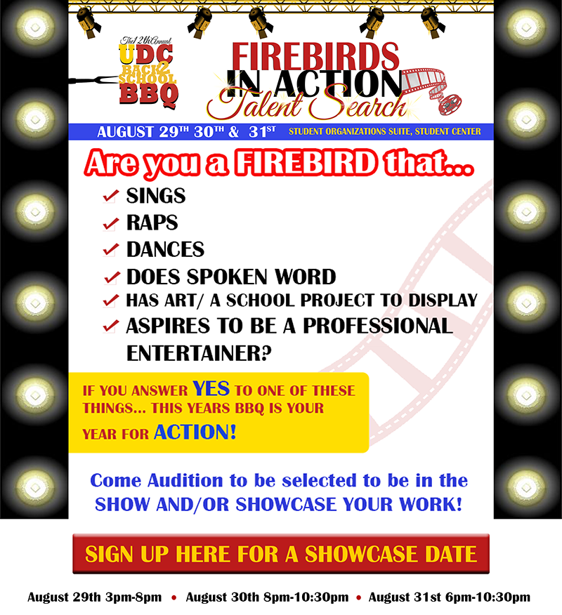 Firebirds in Action - Talent Search - August 29th - 3pm - 8pm | August 30th - 8pm - 10:30pm | August 31st 6pm - 10:30pm -  Image